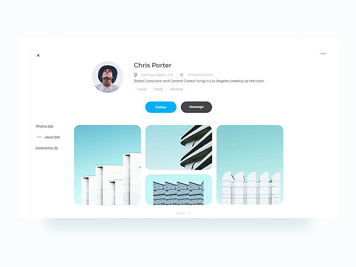 user profile design page design