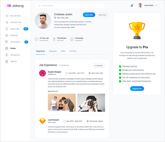 user profile page design