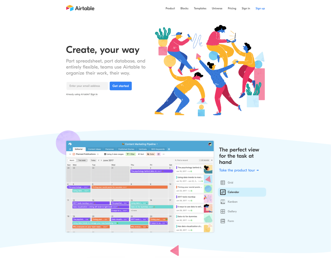 examples landing page