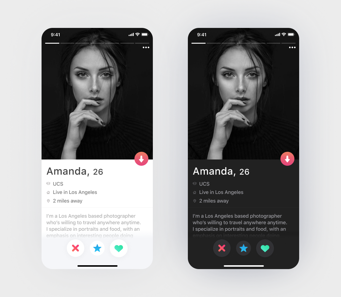 tinder dark theme
