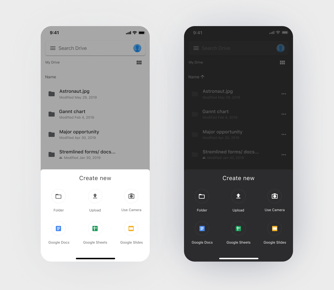 google drive dark theme