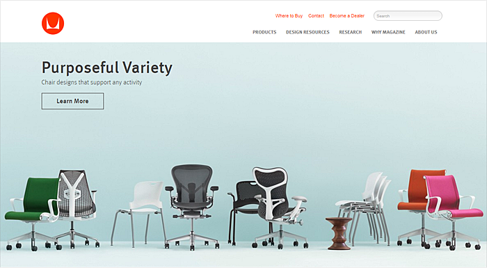 furniture website design example