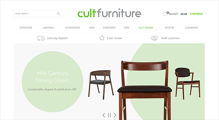 organic furniture website design